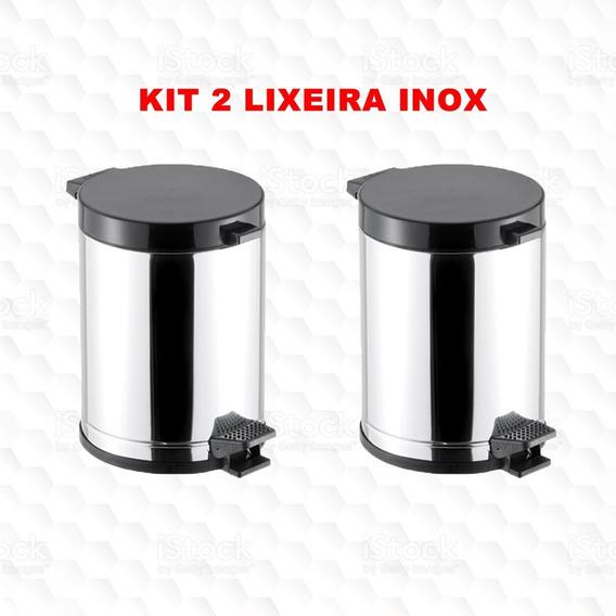 Cesto Lixo 5 Litros Inox Pedal *** Kit 2 Peças *** Ofertão