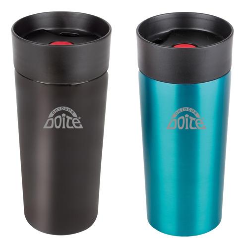 Set De 2 Termos One Touch Mug 350ml Verde Negro Doite