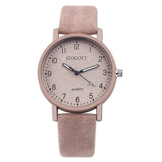 Relógio Feminino Rosa Rosê Acetinado Quartz Ótima Qualidade