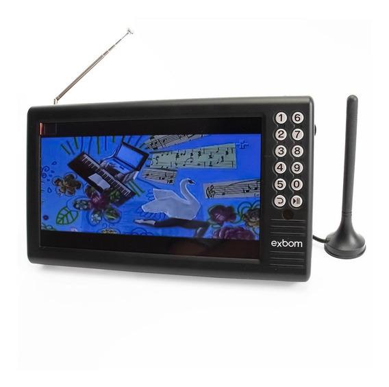 Mini Tv Portátil Digital Com Tela De 7 Em Led Com Antena Digital Externa E Entradas Usb Micro Sd E P2 Para Fone Ouvido