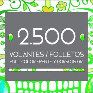 2.500 Volantes / Folletos Full Color Frente Y Dorso. 115 Gr
