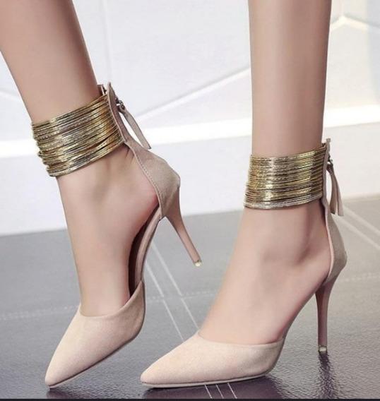 Sapato Importado Feminino Detalhe Tornozeleira Cod5687