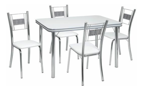 Conjunto De Mesa Com 4 Cadeiras Mirela Sala Jantar-415/334-x