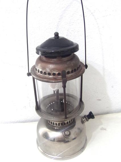 Antiguo Farola Gas De Kerosene Con Depósito De Niquel