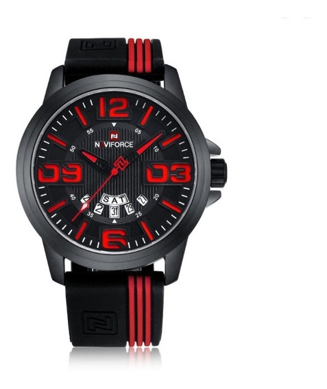 Relógio Masculino Naviforce Borracha Aço Inoxidável Original