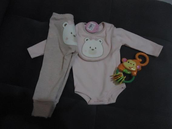 Conjunto Infantil Bordado Body+calca+babador