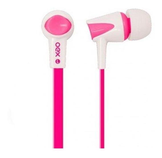 Fone De Ouvido Oex Colorhit Com Microfone, Fn-203 Rosa/branc