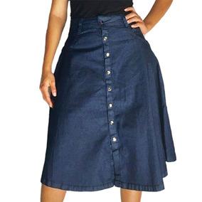 eb26cfeeb7 3 Saias Jeans Godê Secretária Detonada Com Botões Lateral