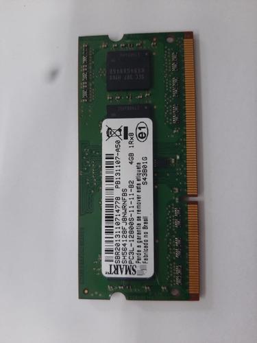 Imagem 1 de 2 de Memória Ram Notebook 4gb 1x4gb Smart 1600mhz Pc3l-12800s
