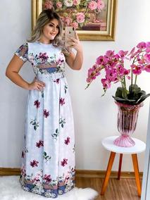 Vestido Longo Com Cinto Moda Evangélica Estampado
