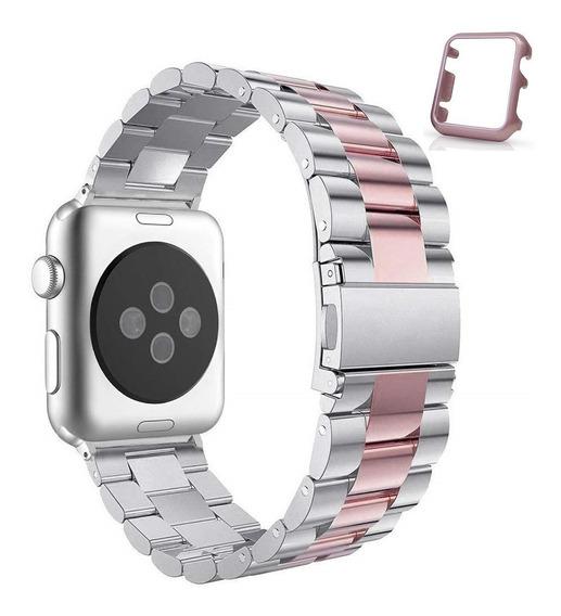 Pulseira Apple Watch Prata E Rosa Metal Aço Elos 42mm + Case