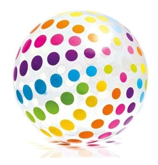 Pelota Playera Inflable Gigante Intex Puntos Colores 1.07m