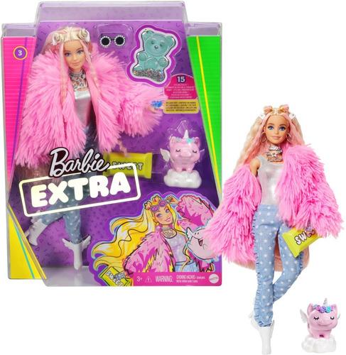 Barbie Rubia Extra Con Abrigo Rosa Y Mascota Unicornio Cerdo