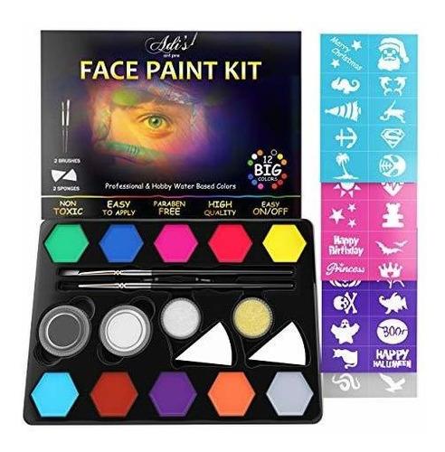 Imagen 1 de 2 de Kit De Pintura Facial Para Niños, 58 Piezas. Set Con Base De