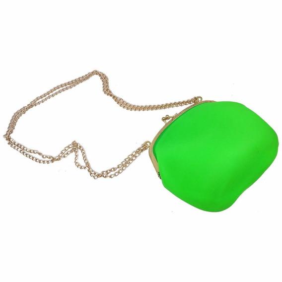 Bolsa De Silicone Vintage Verde Com Dourado Tiracolo