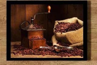 Quadro Grão De Café Máquina Moer 21x30cm Coffee