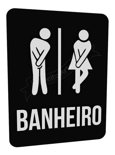 Plaquinha Preta Banheiro Unissex Bonequinhos Buffet Hotel