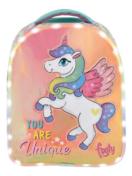 Mochila Footy Espalda Unicornio Luz 14 Original Maple Cuotas