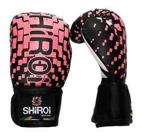 Par Luva Boxe Muay Thai Injetada Shiroi Top Rosa / Preta