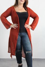 Cardigan Longo Tricot Rendado Roupa Feminina Inverno 2018