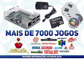 Raspberry Pi3 Game Retrô 7500 Jogos + 2 Controles + 16gb