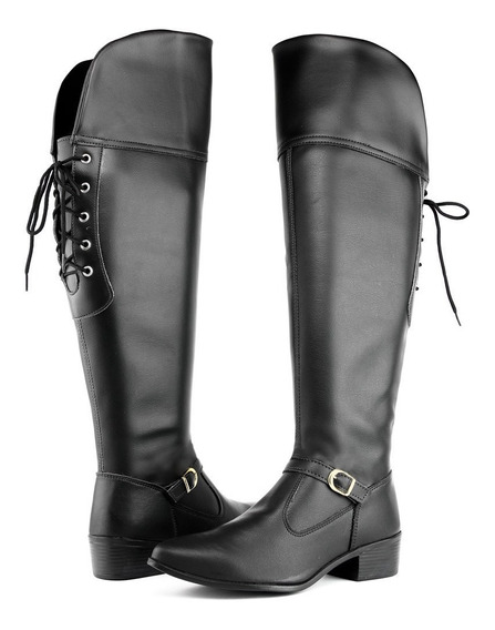 Bota Feminina Over The Knee Cano Longo Franca Ziper Inverno