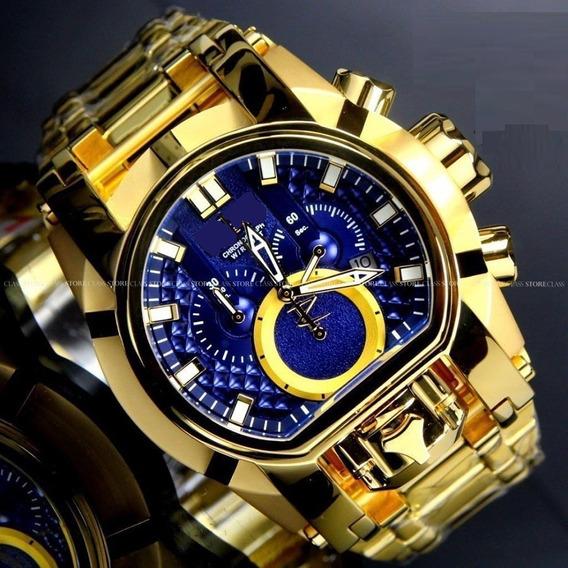 Relógio Masculino Grande Luxo Aço Inox Dourado Fundo Azul