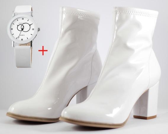 Bota Feminina Cano Curto Verniz Branco + Relógio (brinde)
