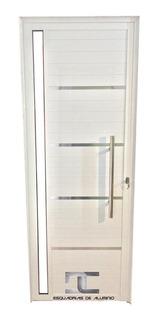 Porta Lambril Alum. Branco 2,10 X 0,80 C/ Pux. Friso E Vidro