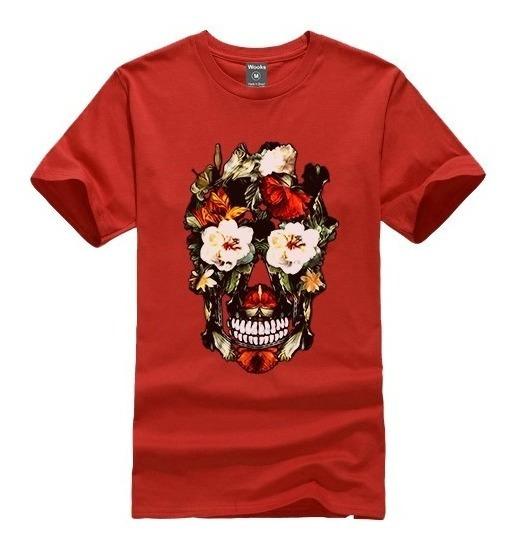 Camiseta Camisa Blusa King Caveira Flores Swag