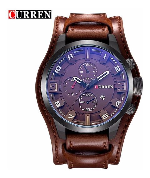 Relógio Bracelete Marrom Barato Masculino Mod. 8225 Curren