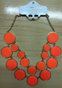 Fashion Colar De Pedras Laranja