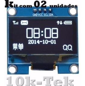 2x Display Oled 128x64 0.96 I2c Gráfico Arduino Azul Amarel