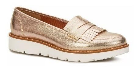 Zapatos Metalizados Color Oro O Negros, Flat Loafer, Andrea