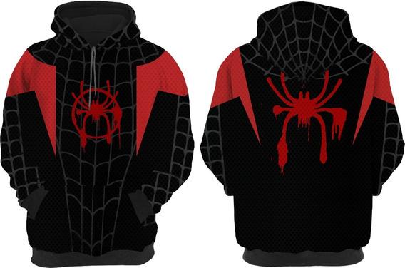 Blusa Moletom Herois Spiderverse Aranha Miles Morales Black