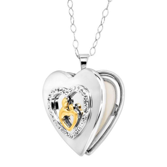 Locket Corazón De Madre Y Niño Con Cristales Plata Esterlina