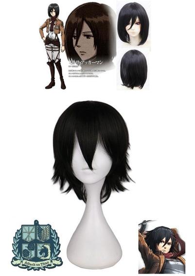 Peluca Negra Anime Attack On Titan Mikasa Importada Usa