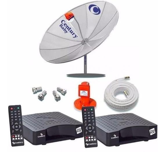 Kit Antena Parabolica Century Completa 2 Pontos Receptores