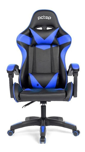 Cadeira Gamer Pctop Strike 1005  Reclinável Preta E Azul