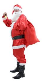 Roupa Para Papai Noel + Sino + Barba Fantasia Natal