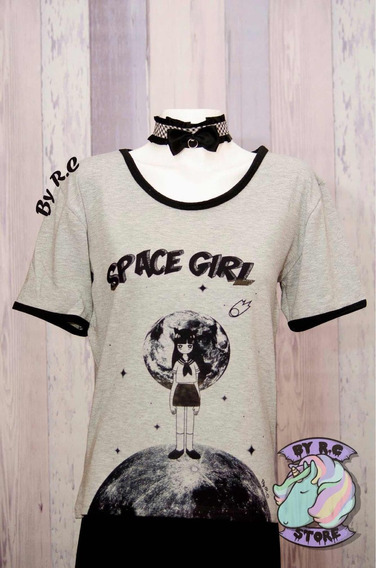 Remera Space Girl Anime Kawaii Excelente Calidad