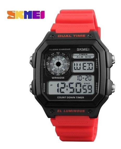 Relógio Skmei 1299 Digital Quartzo Original Masc. Vermelho