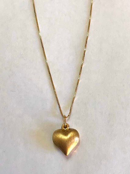 Corrente 45 Cm + Pingente De Coração Duplo Ouro 10k 416