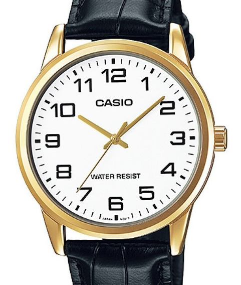 Relogio Casio Masculino Collection Couro - Mtp-v001gl-7budf