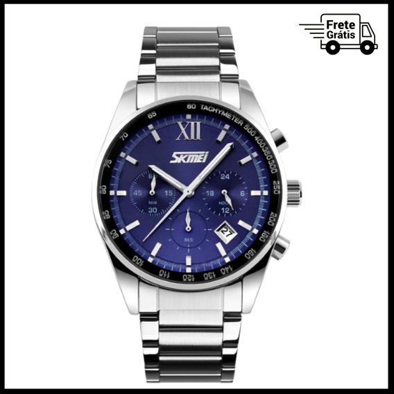 Relógio Skmei Masculino Cronógrafo Moda Aço Inoxidável Azul