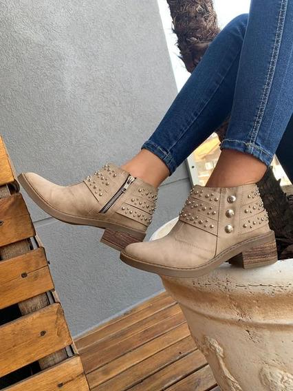 Charrito Botita Zapato Borcego Mujer Tachas Moda 2018 A.430