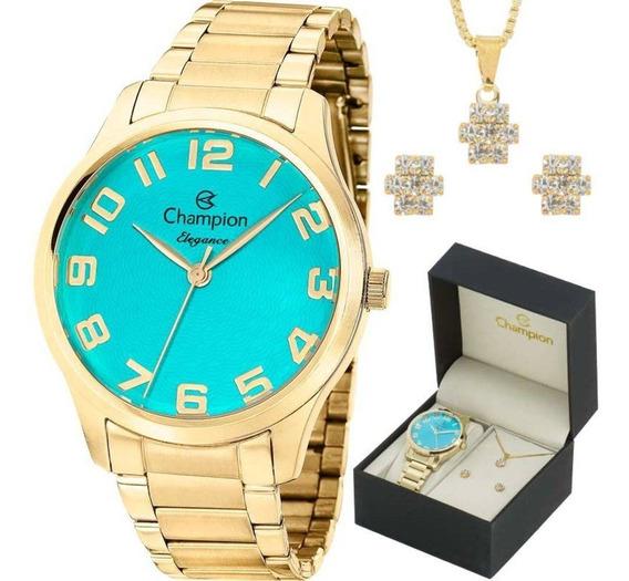 Relógio Champion Feminino + Conjunto Semi Joia Cn26064y