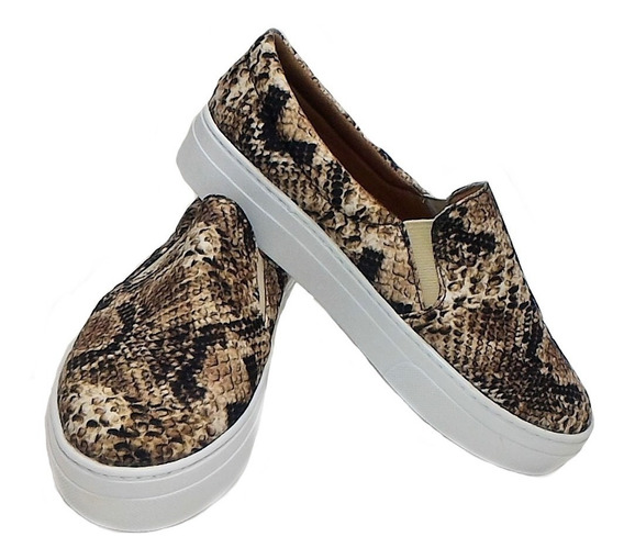 Slip On Tenis Feminino Casual Sapatilha Animal Print Cobra