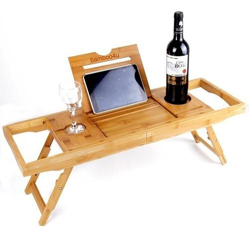 Bakaji mesa bandeja para ba/ñera ba/ño extensible con jabonera ajustable de madera bamb/ú