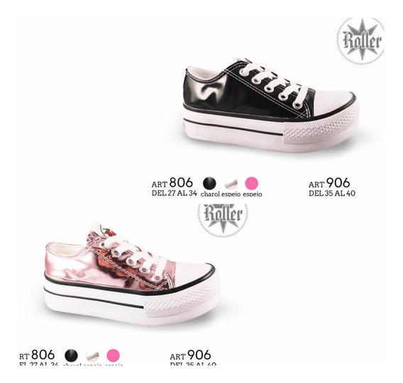 Zapatillas Con Plataforma, Metalizadas, Mujer. 35 Al 40